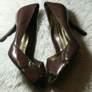BCBG Girl's Faux Patent Leather Open Toe Heels-8.5